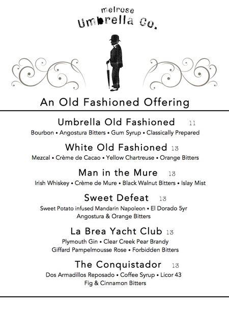 Umbrella Co. Old Fashioned Menu(1)