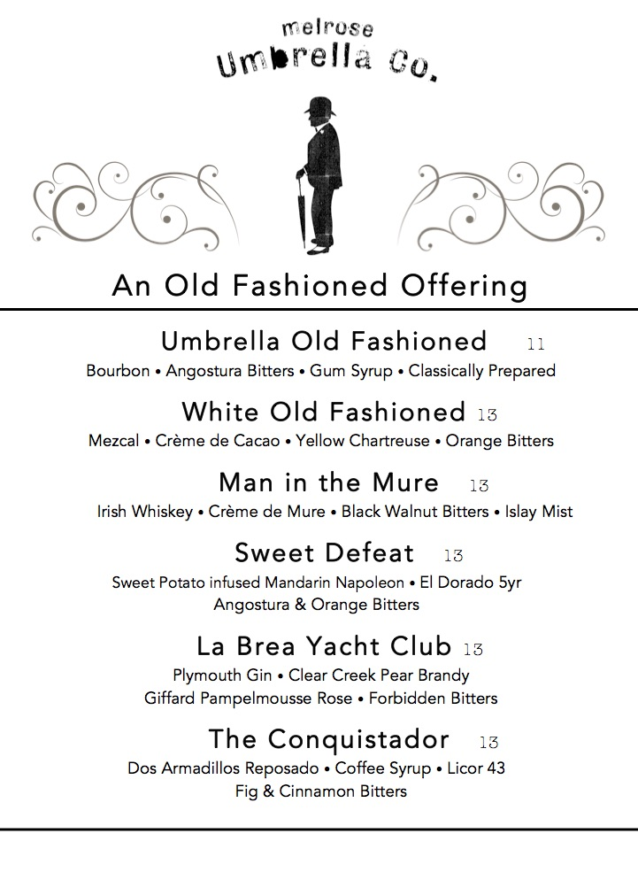 Umbrella Co. Old Fashioned Menu(1)